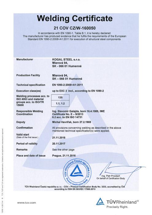 Zertifizierung - KOGAL STEEL s.r.o.